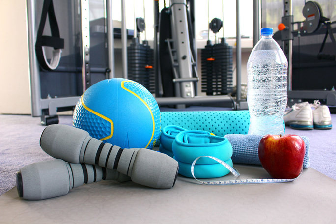 handheld fitness equipment and water bottle